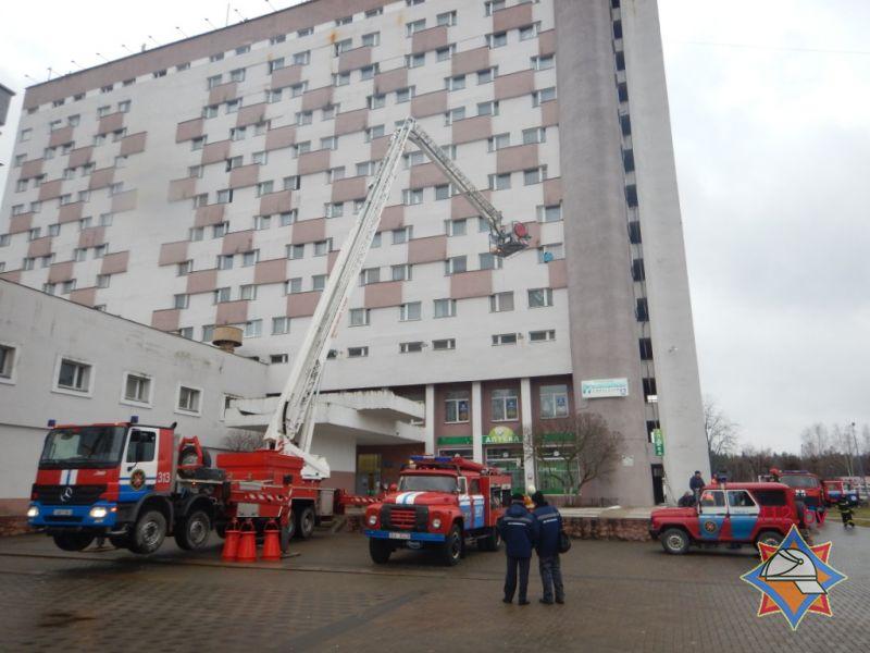 Пожар в новополоцком общежитии оказался пожарными учениями