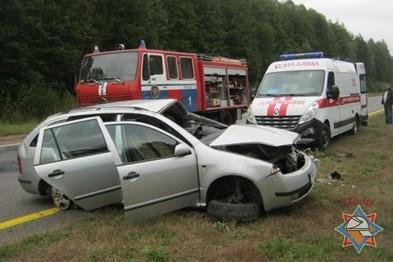 В Полоцкой области легковой автомобиль Skoda Fabia вылетела в кювет и перев ...